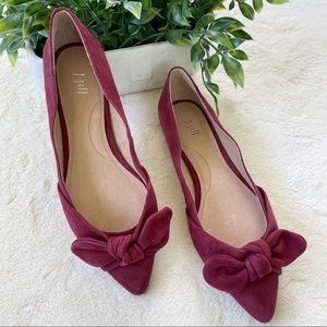 J Jill Simone Bordeaux bow suede flats shoes 7